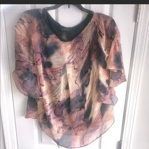 Miss Me Couture Watercolor Batwing Blouse S
